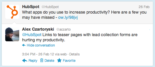 Hubspot tweet about